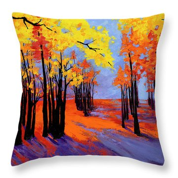 Throw Pillow featuring the painting Autumnal Landscape Painting, Forest Trees At Sunset by Patricia Awapara