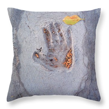 Autumns Child Or Hand In Concrete Throw Pillow by Heather Kirk
