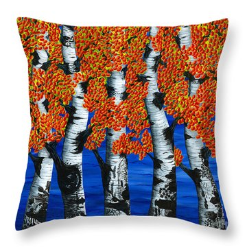 Autumns Farewell Party Throw Pillow by Rebecca Parker