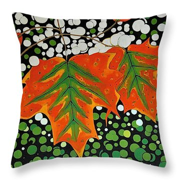 Throw Pillow featuring the painting Autumns Kiss by Kathleen Sartoris