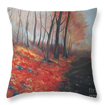 Throw Pillow featuring the painting Autumns Pathway by Leslie Allen