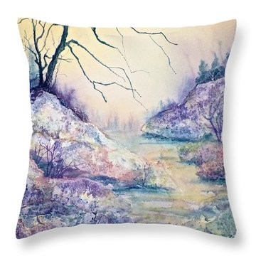 Autumnscape In Purple Throw Pillow by Carolyn Rosenberger