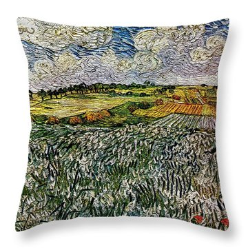 Throw Pillow featuring the painting Landscape Auvers28 by Pemaro