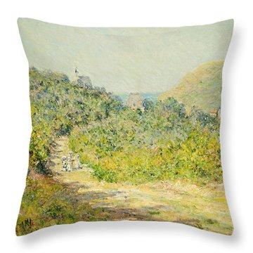 Aux Petites Dalles Throw Pillow by Claude Monet