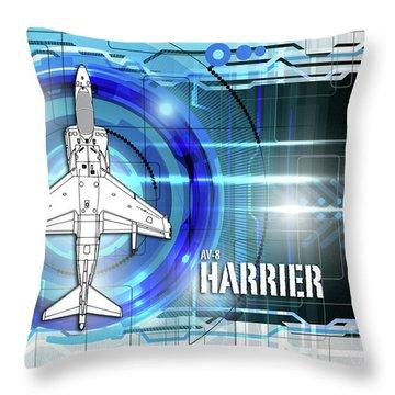 Av-8 Harrier Blueprint Throw Pillow