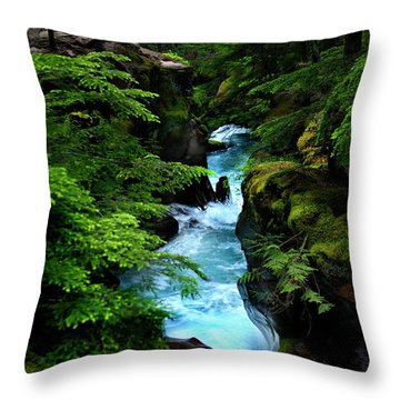 Avalanche Creek Waterfalls Throw Pillow