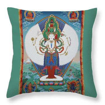 Avalokiteshvara Lord Of Compassion Throw Pillow