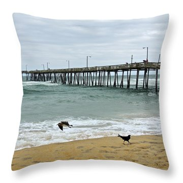 Avalon Fishing Pier Throw Pillow