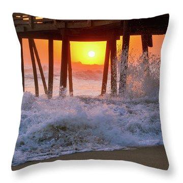 Avalon Fishing Pier Sunrise Throw Pillow