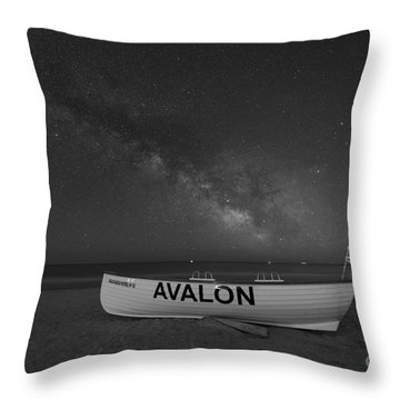 Throw Pillow featuring the photograph Avalon Milky Way Bw by Michael Ver Sprill