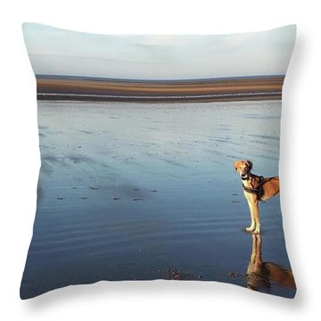Ava's Last Walk On Brancaster Beach Throw Pillow