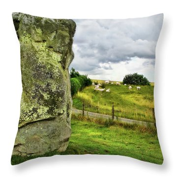 Avebury Standing Stone And Sheep Throw Pillow