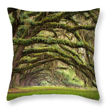 Avenue Of Oaks - Charleston Sc Plantation Live Oak Trees Forest Landscape Throw Pillow