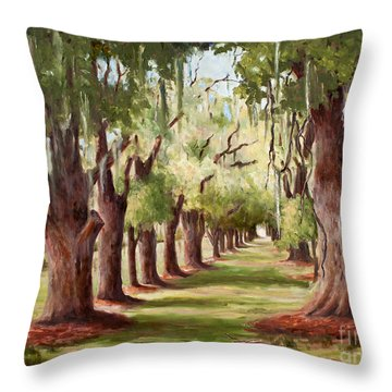 Avenue Of Oaks Iv  Throw Pillow