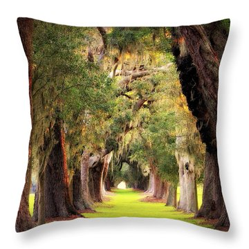 Avenue Of Oaks Sea Island Golf Club St Simons Island Georgia Art Throw Pillow