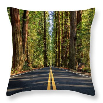 Throw Pillow featuring the photograph Avenue Of The Giants by James Eddy