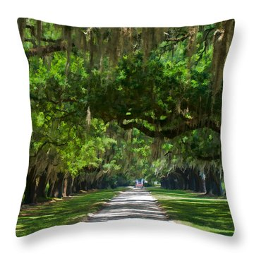 Avenue Of The Oaks At Boonville Plantation Throw Pillow