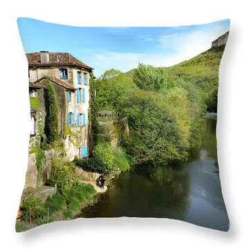 Aveyron River In Saint-antonin-noble-val Throw Pillow by RicardMN Photography