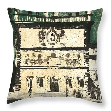 Throw Pillow featuring the painting Avignon Historic Building by Martin Stankewitz