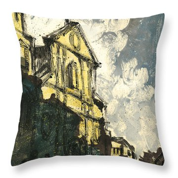 Throw Pillow featuring the painting Avignon Provence Street View by Martin Stankewitz