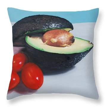 Avocado And Cherry Tomatoes Throw Pillow