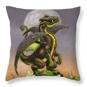 Throw Pillow featuring the digital art Avocado Dragon by Stanley Morrison