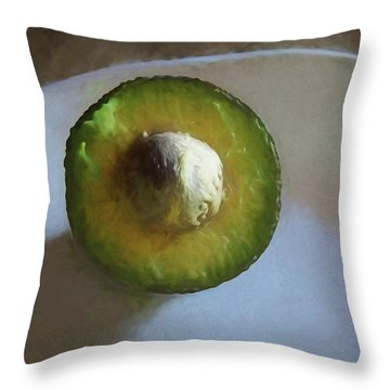 Throw Pillow featuring the mixed media Avocado In Morning Light  by Lynda Lehmann