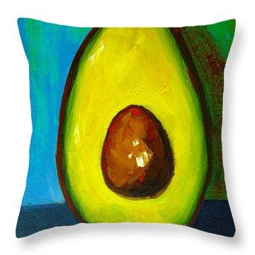 Avocado, Modern Art, Kitchen Decor, Blue Green Background Throw Pillow