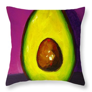 Avocado Modern Art, Kitchen Decor, Purple Background Throw Pillow