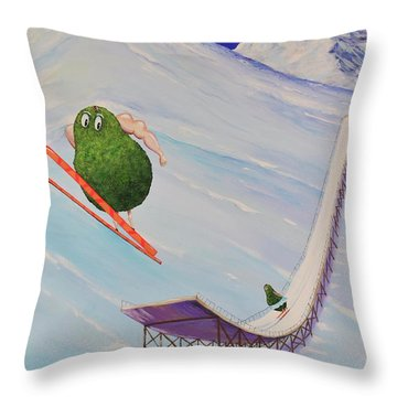 Throw Pillow featuring the painting Avocados Can Fly by Mary Scott