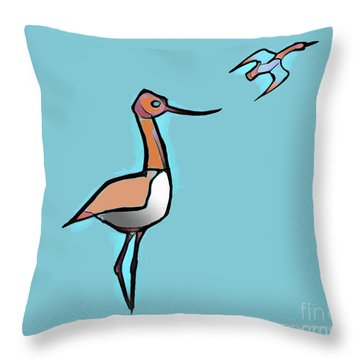 Avocet Composition 3 Throw Pillow by Art MacKay