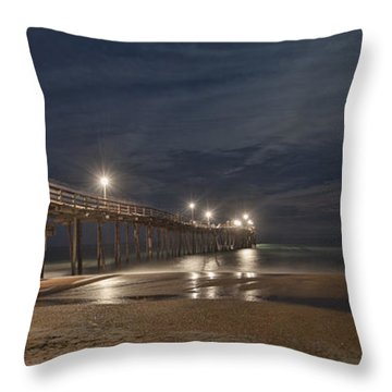 Avon Pier At Night Throw Pillow by Laurinda Bowling