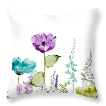 Watercolor Flowers Throw Pillows