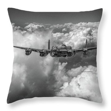 Throw Pillow featuring the photograph Avro Lancaster Above Clouds Bw Version by Gary Eason