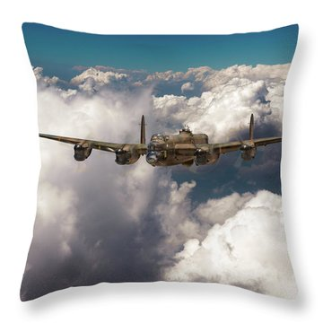 Throw Pillow featuring the photograph Avro Lancaster Above Clouds by Gary Eason