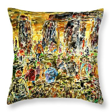 Throw Pillow featuring the painting Awaiting The Sun by Alfred Motzer