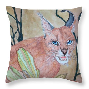Throw Pillow featuring the painting Awaiting Your  Mistake by Connie Valasco