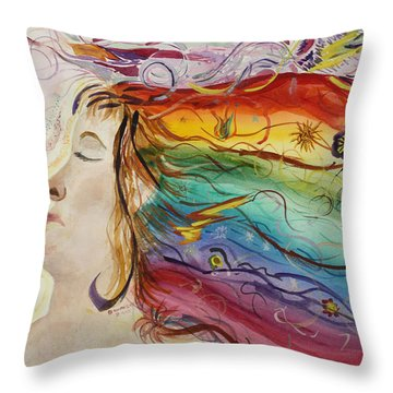 Throw Pillow featuring the painting Awakening Consciousness by Donna Walsh