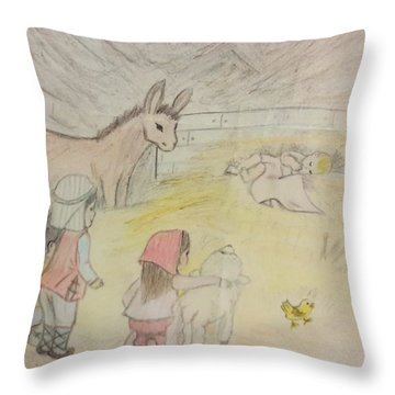 Away In A Manger With Child Shepherds Throw Pillow by Christy Saunders Church