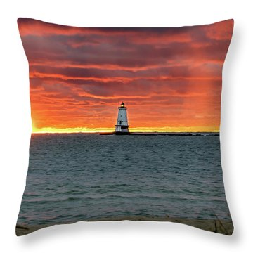 Awesome Sunset With Lighthouse  Throw Pillow