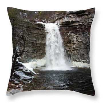 Awosting Falls In January #1 Throw Pillow by Jeff Severson