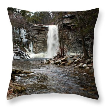 Awosting Falls In January #2 Throw Pillow by Jeff Severson