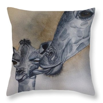 Baby And Mother Giraffe Throw Pillow by Kelly Mills