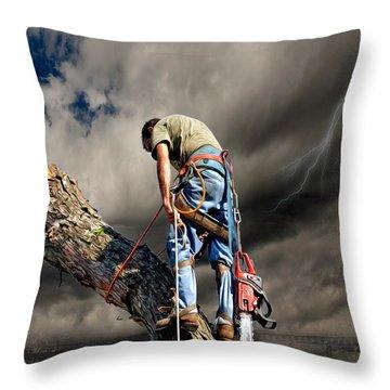 Ax Man Throw Pillow by Mark Allen