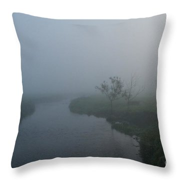 Axe In The Mist Throw Pillow by Gary Bridger
