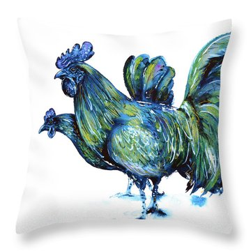 Ayam Cemani Pair Throw Pillow by Zaira Dzhaubaeva