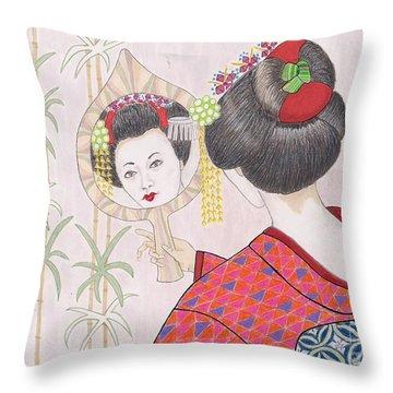 Ayano -- Portrait Of Japanese Geisha Girl Throw Pillow