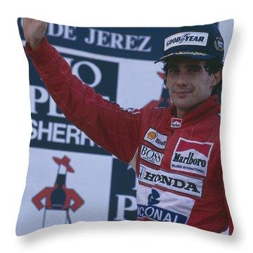 Ayrton Senna. 1989 Spanish Grand Prix Winner Throw Pillow