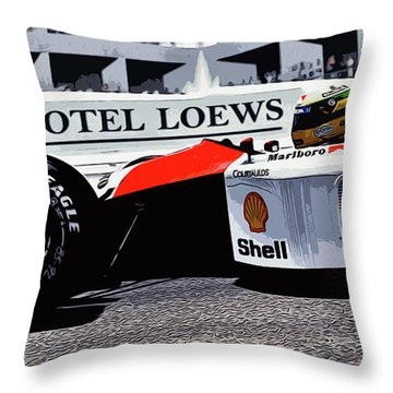 Ayrton Senna - Montecarlo Throw Pillow