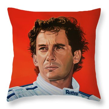 Ayrton Senna Portrait Painting Throw Pillow by Paul Meijering